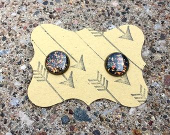 Shattered Fire Opal Stud Earrings