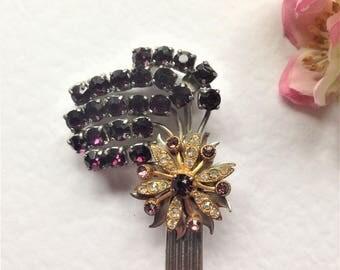 Vintage Crystal Brooch, Purple Brooch, Gold Tone Brooch, Rhodium Plated Brooch, Vintage Wedding, Mother of the Bride