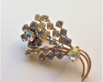 Vintage AB Crystal Brooch, Blue Crystal Brooch, Flower Brooch, Vintage Wedding