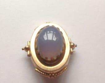 Victorian Brooch, Silver Gilt Brooch, Oval Moonstone, Moonstone Brooch, Circa 1800