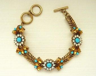 Vintage Bracelet Art Deco Bracelet Jewelry Great Gatsby Bracelet Art Nouveau Bracelet Jewelry Turquoise Bracelet Downton Downtown Abbey