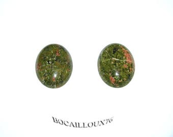 CABOCHON 15x20 UNAKITE 9  Lot de 2 - Pour CREATION