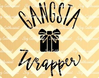 Gangsta Wrapper SVG, Christmas Svg, Xmas Svg, Winter Svg, Gift Svg, Bow SVG, Santa Claus Svg, Christmas eve SVG, Eps, Cut Files, Clip Art,