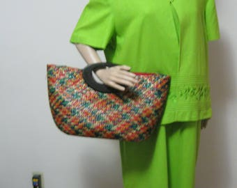 Vintage Extra Large Size Colorful Straw Handbag Purse Red Blue Green Beige Woven Straw with Brown Wooden Handles SEE Details