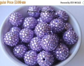 SALE 20mm Lavender Sparkly AB Rhinestone Chunky Beads Set of 10, Light Purple Bubble Gum Beads, Gumball Beads, Acrylic Beads