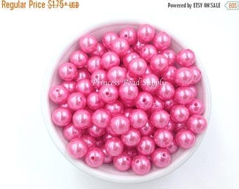 SALE 12mm Light Hot Pink Pearl Beads,  Set of 20 or 50 Light Hot Pink Pearls,  12mm Pearls, Chunky Bubble Gum Beads, Gumball Beads, Acrylic