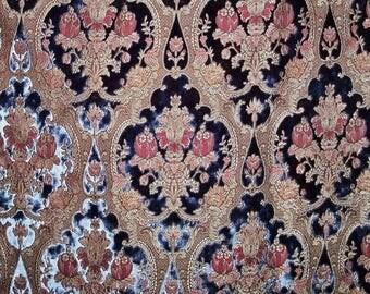 PIERRE FREY FADINI Borghi Bach Cut Velvet Medallions Fabric Remnant Sapphire Blue Multi
