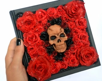 Skull and roses polymer clay journal- polymer clay notebook - Gothic journal