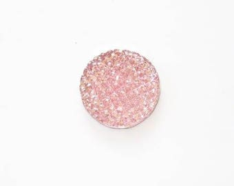 Shine flat 16mm light pink resin cabochon