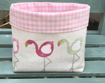 Basket, Fabric Basket, Organiser, Flamingo, Gingham, Pink
