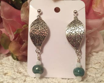 Silver Plated Rippling Leaf Earrings