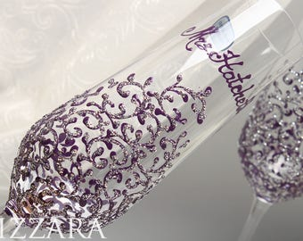 Personalized champagne flute Plum and silver wedding Purple champagne flutes Personalized toasting flutes Purple toasting flutes personalize