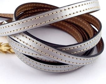 cord flat leather 10mm silver seams white by 50cm