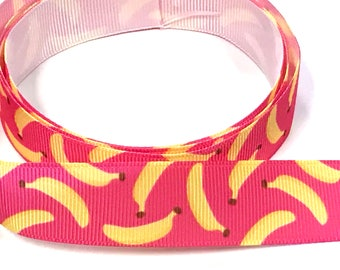 "7/8"" inch Bananas on Hot Pink Monkey Cute - Printed Grosgrain Ribbon for Hair Bow - Original Design 7/8"