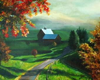 Scenery Landscape, scenery, road, trees, autumn, county-side, greenary, sunset
