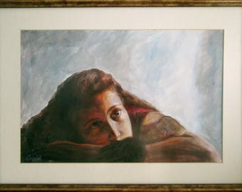 Dreamy girl, beautiful, realistic, one of a kind, original, exclusive hand painting