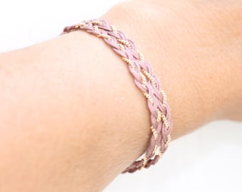 Gold plated bracelet Fez and Old Pink cotton thread