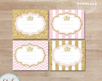 50% OFF SALE Princess Pink and Gold Food Tent Labels, Gold Glitter Buffet Labels, Table tents, Baby shower Decorations, Candy Labels, Party