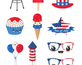 Fourth of July   Kawaii   Banners   Planner Stickers   Matte   Glossy