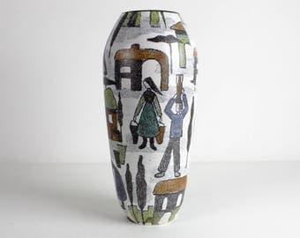 Tall Waechtersbach ceramic vase with figurative decor - West German Pottery, Mid Century, 50s-60s