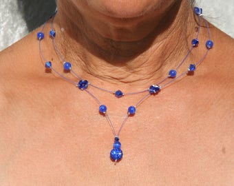 Blue necklace with Rhinestones