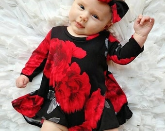 Black Red Floral Dress- Tshirt dress- Highlow dress