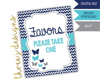 Butterfly Baby Shower Favor Table Sign - INSTANT DOWNLOAD - Navy Blue, Teal and Gray - Digital File - J007