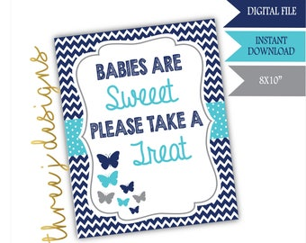 Butterfly Baby Shower Treat or Dessert Table Sign - INSTANT DOWNLOAD - Navy Blue, Teal and Gray - Digital File - J007