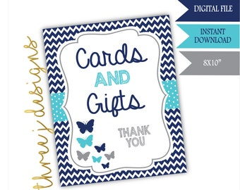 Butterfly Baby Shower Gift and Card Table Sign - INSTANT DOWNLOAD - Navy Blue, Teal and Gray - Digital File - J007