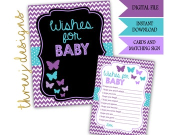 Butterfly Baby Shower Wishes for Baby Cards and Sign - INSTANT DOWNLOAD - Purple and Teal - Digital File - J001