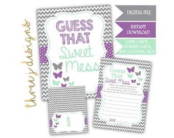 Butterfly Baby Shower Guess That Sweet Mess Game Cards and Sign - INSTANT DOWNLOAD - Gray, Lavender and Mint - Digital File - J005
