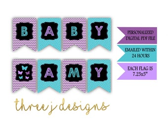 Butterfly Baby Shower Personalized Baby Banner - Purple and Teal - Digital File - J001