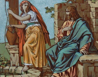 """Jesus painting Jesus Christ and the Samaritan woman Acrylic painting on canvas 27.6""""x27.6"""" Christian art canvas Religious gifts Easter Story"""