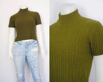 90s cropped mock neck, vintage cable knit t-shirt -- moss green, crop top, short sleeve, cable knit sweater, grunge, 1990s 90s clothing
