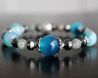 Gemstone bracelet, blue agate and hematite