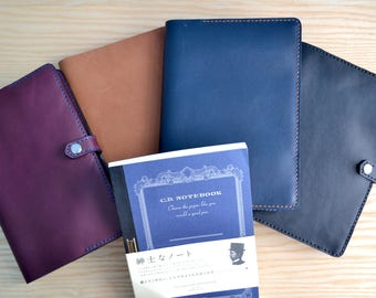 Apica Premium C.D. Notebook leather cover | snap closure, 4 Horween leather colours, all sizes | Journal refillable sleeve