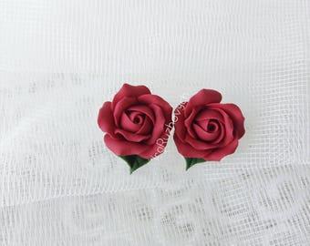 Stud earrings red rose