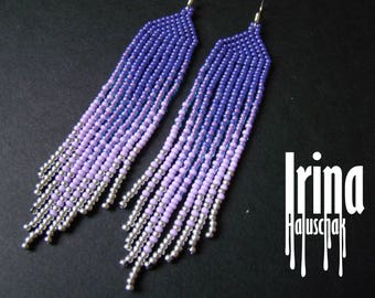 Ultra violet beaded earrings Gradient violet seed bead earrings Pantone 2018 color earrings Boho earrings Boho style Ukrainian jewelry