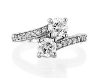 2.30 CT F/SI1 Solitaire Round Cut Diamond Engagement Ring 14K White Gold