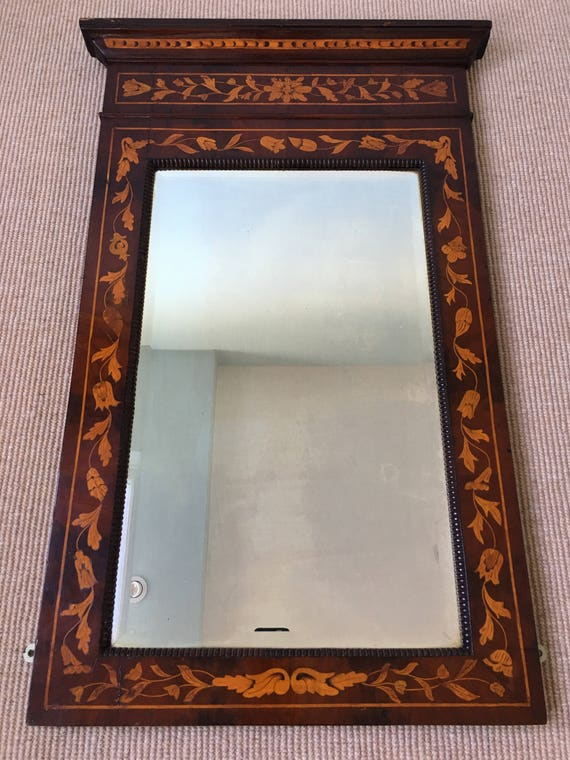 Early 18th century Dutch marquetry mirror with original bevelled glass