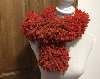 Scarf... scarf froufrou wool tone degrades hand made Red