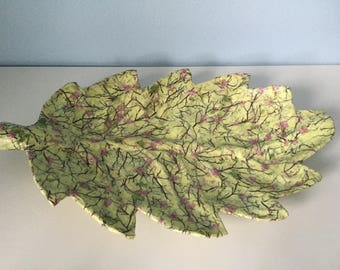 Unique Decoupaged/Upcycled Yellow Cherry Blossom Design Leaf Tray - Gift - Storage