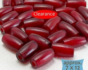 Oval Horn Beads Dark Cranberry Red--10 Pcs   30-HN30R-10