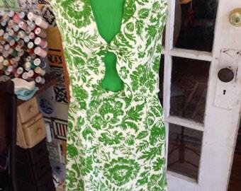 60's 3 piece green/ivory cotton/linen blend skirt suit