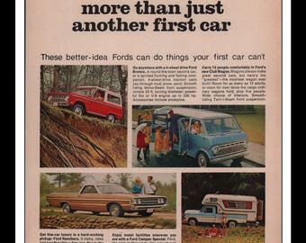"Vintage Print Ad 1960s : Ford Automobile Car Wall Art Decor 8.5"" x 11"" each Advertisement"