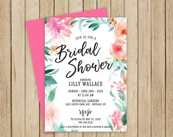 Floral Bridal Shower Invitation /  Pink, Orange & Green Shower Invite