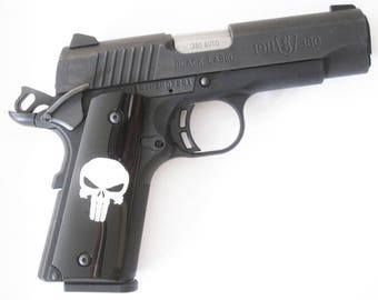 DURAGRIPS - Browning 1911-22 1911-380 Grips .22 .380 Shiny Gloss- SMOOTH PUNIZHER, Black / White