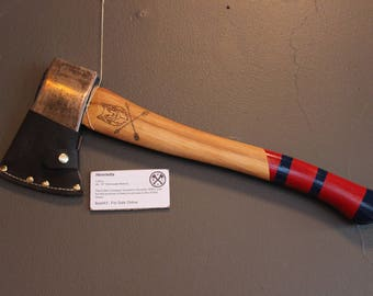 """Restored Vintage Collins Camp Axe - Made In USA - 2lb, 19"""" - custom sheath, paint, and handle burn - NWAL#ax043"""