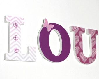 prénom LOU en bois  rose , prune - prénom personnalisé -naissance, baptême, anniversaire
