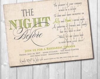 Rehearsal Dinner Invitation printable/Digital File/Night before invitation, rustic, wedding, choice of entree/Wording &Colors can be changed